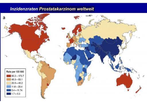 Erkrankunge an Prostatakrebs welweite Inzidenzraten